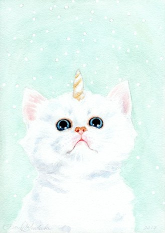 Kitticorn | Watercolor on Panel by Darcy Goedecke